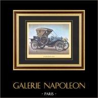 Historia del Automóvil - Coches Antiguos - Packard 1909 | Grabado sobre papel vitela. c1960