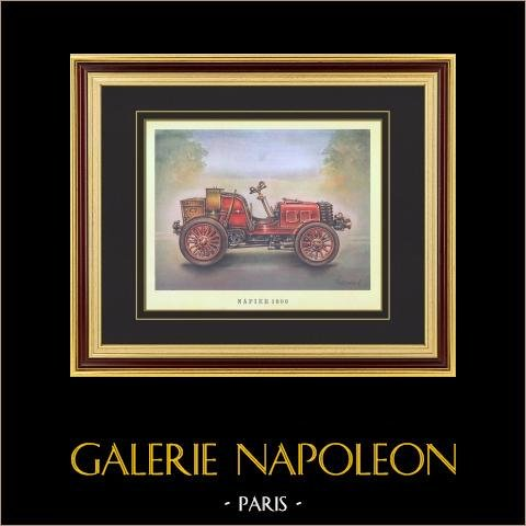 History of the Automobile - Old Cars - Napier 1900 | Print on vellum paper. c1960