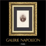 Retrato de Adolphe Thiers (1797-1877) - Presidente de la República Francesa | Grabado original en talla dulce sobre acero grabado por Baudran, glymmatographie sur acier. 1860