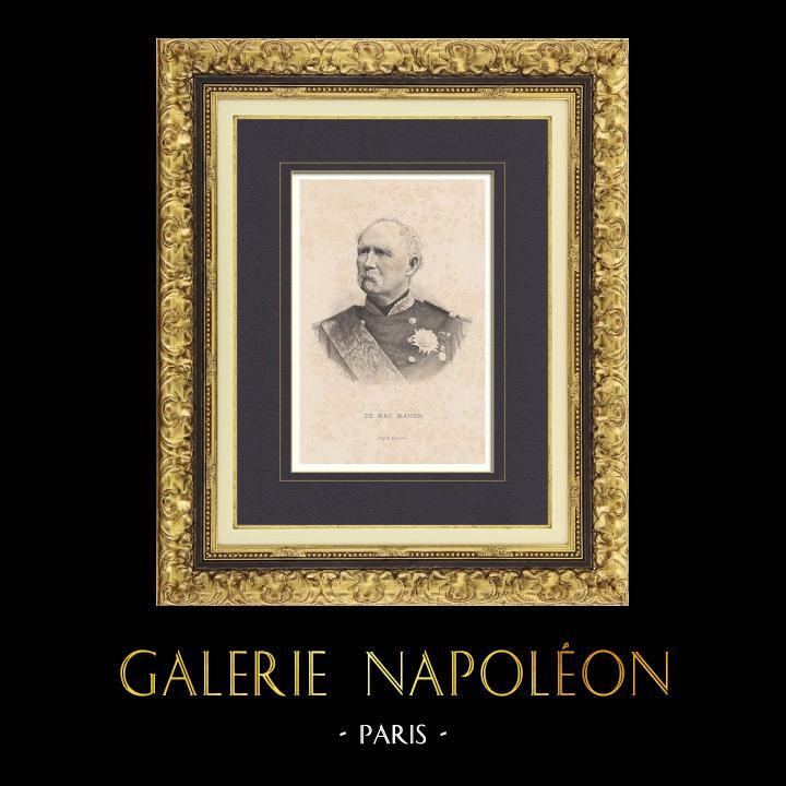 Gravures Anciennes & Dessins   Portrait de Patrice de Mac Mahon - Maréchal de France - Président République française (1808-1893)   Taille-douce   1890