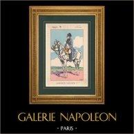 Napoléon Ier et son État Major - Empereur Napoléon Ier (V. Huen) | Impression polychrome originale dessinée par Victor Huen. 1905