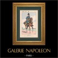 Napoléon Ier et son État Major (V. Huen) - Garde Impériale - Capitaine | Impression polychrome originale dessinée par Victor Huen. 1905