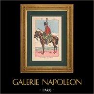 Napoléon Ier et son État Major (V. Huen) - Garde Impériale - Chasseur à Cheval | Impression polychrome originale dessinée par Victor Huen. 1905