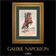 Napoleone I e il suo Stato Maggiore (V. Huen) - Mamelucco di Guardia Imperiale   Stampa policroma originale disegnata da Victor Huen. 1905