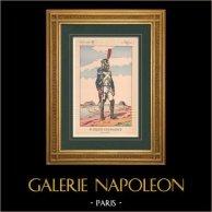 Napoléon Ier et son État Major (V. Huen) - Fusilier-Grenadier de la Garde Impériale | Impression polychrome originale dessinée par Victor Huen. 1905