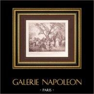 Peinture française - Une Halte - Repos des Soldats (Watteau)