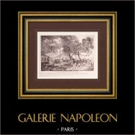 Fransk målning - Paus - Lugn av Soldater (Watteau) | Original stick på papper vergé J.W. Zanders efter Antoine Watteau. Papper med vattenstämpel. 1860