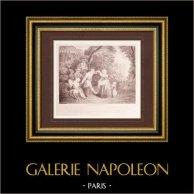 French painting - La Danse Champêtre - The Country Dance (Watteau)