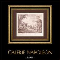 Pintura francesa - Défilé - Desfile Militar (Watteau) | Original grabado sobre papel vergé J.W. Zanders según Antoine Watteau. Papel con filigrana. 1860