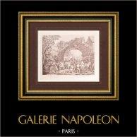 Peinture française - Départ de Garnison (Watteau) | Impression sur papier vergé J.W. Zanders d'après Antoine Watteau. Papier filigrané. 1860