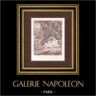 Pittura francese - Sommeil Dangereux - Sonno Pericoloso (Watteau) | Stampa originale su carta vergata J.W. Zanders secondo Antoine Watteau. Carta filigranata. 1860