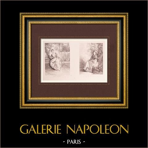 Peinture française - L'Amante Inquiète - La Rêveuse (Watteau) | Impression sur papier vergé J.W. Zanders d'après Antoine Watteau. Papier filigrané. 1860