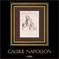Peinture française - Portrait de Jean-Antoine Watteau - XVIIIème Siècle (Watteau) | Impression sur papier vergé J.W. Zanders d'après Antoine Watteau. Papier filigrané. 1860
