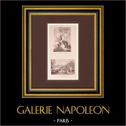 Pintura francesa - Le Galant Jardinier - L'Amour Paisible (Watteau) | Original grabado sobre papel vergé J.W. Zanders según Antoine Watteau. Papel con filigrana. 1860