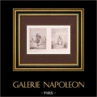 Französische malerei - La Marmotte - La Fileuse (Watteau)  | Original stich auf geripptes papier J.W. Zanders nach Antoine Watteau. Wasserzeichenpapier. 1860
