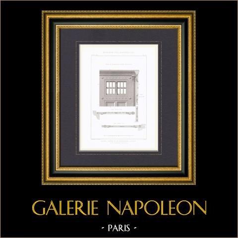 Maison d'Arrêt et de Correction à Paris - Serrurerie de la Porte d'Entrée - Architecte E. Vaudremer (France) | Gravure originale en taille-douce sur acier gravée par Lamy. 1872