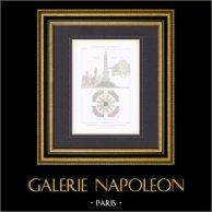 Guerra franco-prussiana 1870 - Cenotafio - Saint-Germain-en-Laye - Architetto Ch. Fauconnier (Francia) | Stampa calcografica originale a bulino su acciaio incisa da Guillaumot fils. 1872