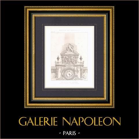 Rathaus von Valenciennes - Nord-Pas-de-Calais - Uhr - Architekt M. Batigny (Frankreich) | Original stahlstich gestochen von Guillaumot fils. 1872