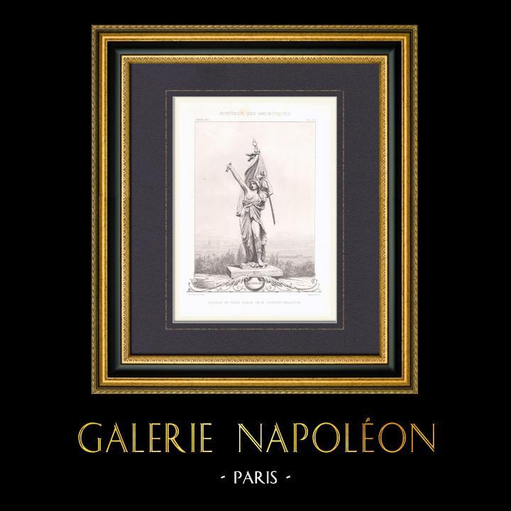 Gravures Anciennes & Dessins   Esquisse en terre glaise de M. Carrier-Belleuse   Taille-douce   1872