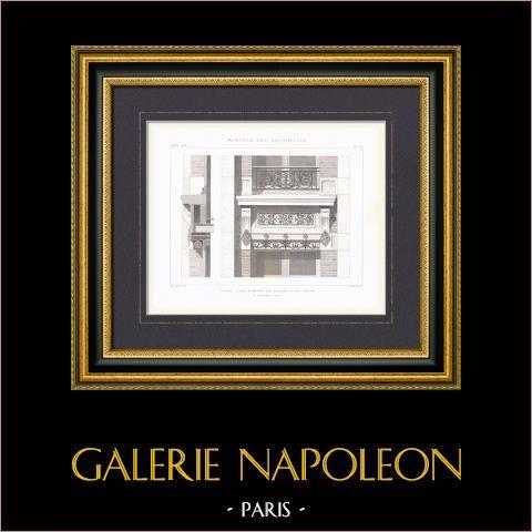 Janela de uma casa Rue du Cygne em Paris - Arquiteto M. Bourdais (França) | Gravura original em talho-doce sobre aço gravada por Sulpis fils. 1874