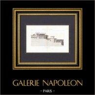 Propylées - Acropole d'Athènes - Grèce Antique - Restauration - Architecte M. Boitte (Grèce) | Gravure originale en taille-douce sur acier gravée par Martel. 1874