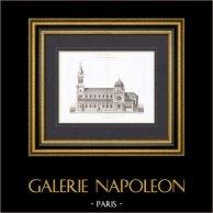 Eglise Saint Michel à Lille - Place Philippe le Bon - Nord-Pas-de-Calais - Architecte A. Coisel (France) | Gravure originale en taille-douce sur acier gravée par Bunot & Bosredon. 1874