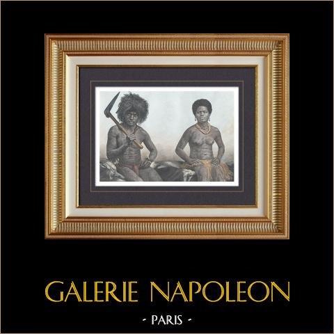Nouvelle-Calédonie - Kanak - Canaque - Homme et Jeune Femme (France) | Gravure sur bois originale gravée par Thiriat. Aquarellée à la main. 1889