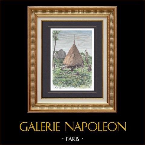 Habitation d'un Chef Kanak - Nouvelle-Calédonie (France) | Gravure sur bois originale dessinée par Vuillier, gravée par Barbant. Aquarellée à la main. 1889