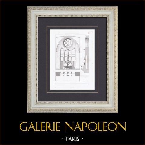 Chapelle des Soeurs de la Providence - Troyes - Aube (France) | Gravure originale en taille-douce sur acier dessinée par De Baudot, gravée par Gibert. 1867