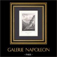 Passage de l'Echelle - Midi-Pyrénées - Hautes-Pyrénées (France) | Lithographie originale dessinée par Gelibert, lithographiée par Engelmann. Timbre sec. 1830