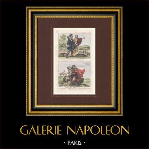 Gaule - Gaulois de la Togata - Gaule Cisalpine - Barde Gaulois - 50 ans avant J.C. | Gravure originale en taille-douce sur acier. Anonyme. Aquarellée à la main. 1859