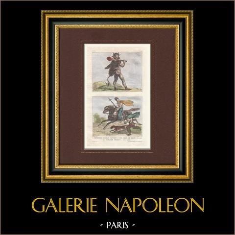 Germains - Soldat - Guerrier - Cavalier - Vème Siècle (Germanie) | Gravure originale en taille-douce sur acier dessinée par Lalaisse, gravée par Chaillot. Aquarellée à la main. 1859