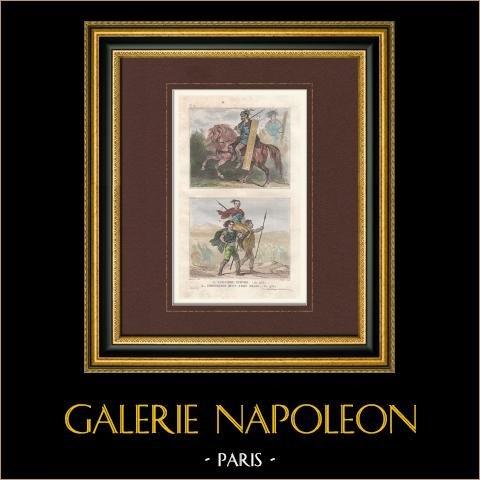 Germains - Suèves - Cavalier - Chef Franc - Vème Siècle | Gravure originale en taille-douce sur acier dessinée par Lalaisse, gravée par Chaillot. Aquarellée à la main. 1859