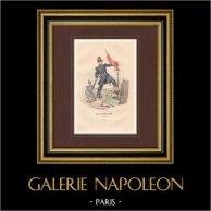 Armée Française - Uniforme Militaire - Garde Nationale mobile (1848) | Gravure originale en taille-douce sur acier dessinée par Philippoteaux, gravée par Deghouy. Aquarellée à la main. 1850