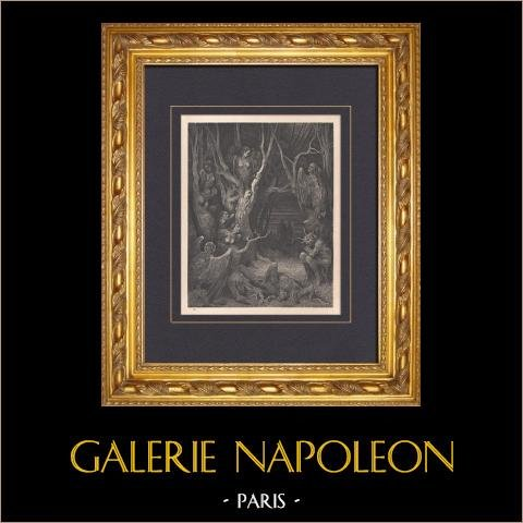 L'Enfer de Dante - Gustave Doré - Chapitre XXXV - La Forêt des Harpies | Gravure sur bois originale dessinée par Gustave Doré. 1862