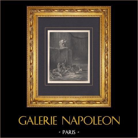L'Enfer de Dante - Gustave Doré - Chapitre XLIII - Rufiens - Adulateurs | Gravure sur bois originale dessinée par Gustave Doré. 1862