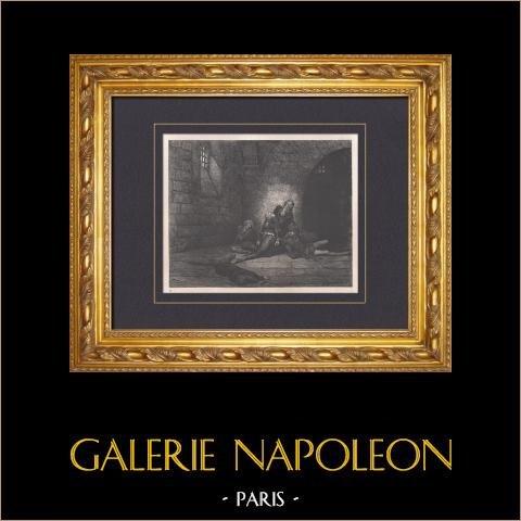 L'Enfer de Dante - Gustave Doré - Chapitre LXXI - Ugolin - Gaddo | Gravure sur bois originale dessinée par Gustave Doré. 1862