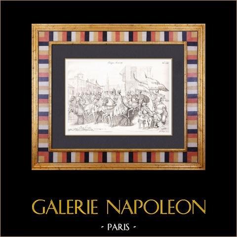 Costume - Europe - Cavalier - Empereur - Noblesse - XVIème Siècle | Gravure originale en taille-douce sur cuivre dessinée par Caffotti Vincenzo, gravée par Lago G.. 1833