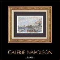 Vue de Naples - Campanie - Campania - Quai Sainte-Lucie (Italie) | Gravure sur bois originale dessinée par Girardet, gravée par Maurand. Aquarellée à la main. 1861