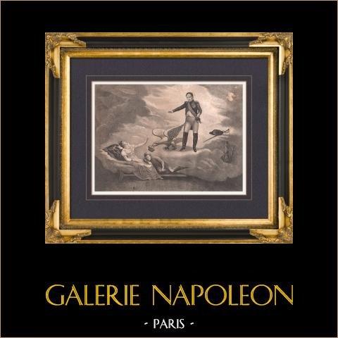 Napoleone I ed suo Figlio Napoleon II L'Aiglon - Maria Luisa d'Austria - Il Sogno | Litografia originale. Anonima. 1820