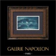 Parigi di Notte - Senna - Pont au Change - Île de la Cité | Stampa Heliotype originale secondo A. Papeghin. 1920