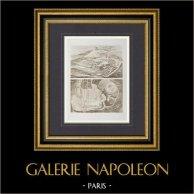 Puy-de-Dôme -  Piano globale di Scavo - 1877 - Tempio di Mercurio - Galo-romano (Auvergne - Francia) | Incisione heliogravure disegnata da Bruyerre. 1892