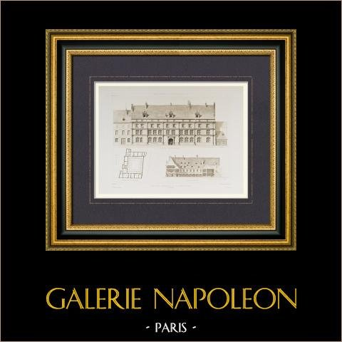 Palazzo - Palais Granvelle di Besançon - Franca Contea - Doubs (Francia) | Incisione heliogravure disegnata da Berard. 1892