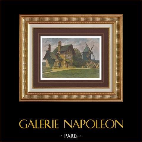 En los alrededores de Paris - Bosque de Boulogne - El Molino - Isla de Francia (Francia)   Original fotocromo grabado grabado por Gillot. 1890