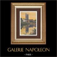 Castello di Oudon - Torre - Pays de la Loire - Loira atlantica (Francia) | Stampa fotocromia originale. Anonima. 1890