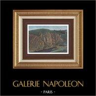 Gebirgstal von Creuse - Kliffküsten - Rocher de la Fileuse - Indre (Frankreich) | Original photochromdruck. Anonyme. 1890