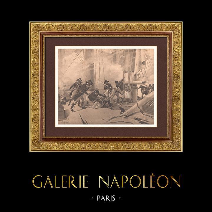 Gravures Anciennes & Dessins | Bataille Navale de Trafalgar - Guerre Napoléonienne - Mort de l'Amiral Nelson (21 octobre 1805) | Photogravure | 1900