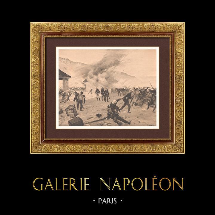 Gravures Anciennes & Dessins | Bataille de Rorke's Drift - Guerre Anglo-Zouloue (22 et 23 janvier 1879) | Photogravure | 1900