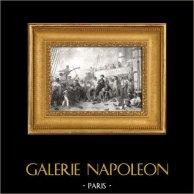 Guerre Napoleoniche - La Battaglia di Trafalgar - Combattimento del Algésiras e Morte dell'ammiraglio Magon | Incisione su metallo originale disegnata da K. Girardet, incisa da P. Girardet. 1837