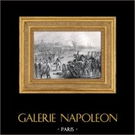 Napoleonkrigen - Slaget vid Austerlitz - Tillfångatagandet av överbryggar av Wien av Napoleons armé | Original metallstick efter teckningar av E. Charpentier, graverade av Beyer et Outhwaite. 1837